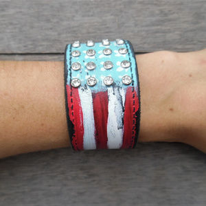 American Flag Stars Stripes Leather Cuff Bracelet
